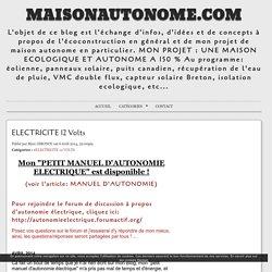 ELECTRICITE 12 Volts - MaisonAutonome.com