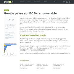 EnR : Google passe à 100% d'électricité renouvelable