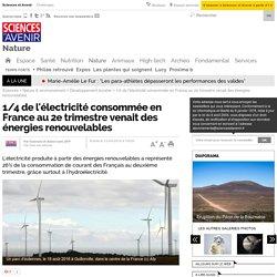 1/4 de l'électricité consommée en France au 2e trimestre venait des énergies renouvelables