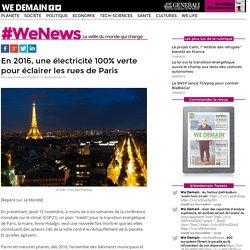 En 2016, une électricité 100% verte pour éclairer les rues de Paris