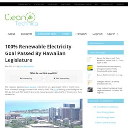 100% Renewable Electricity Goal Passed By Hawaiian Legislature