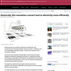 Atomically thin nanowires convert heat to electricity more efficiently