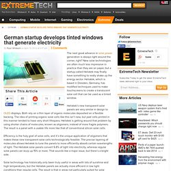 German startup develops tinted windows that generate electricity