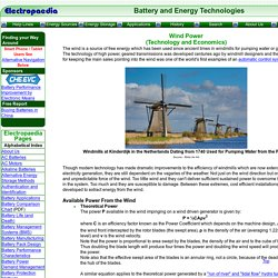 Electricity Generation from Wind Power. Technology and Economics.