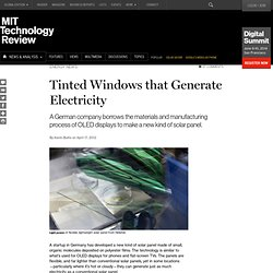 Tinted Windows that Generate Electricity