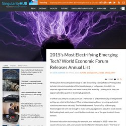 2015's Most Electrifying Emerging Tech? World Economic Forum Releases Annual List