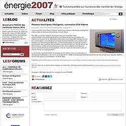 Réseaux électriques intelligents: convention Etat-Ademe