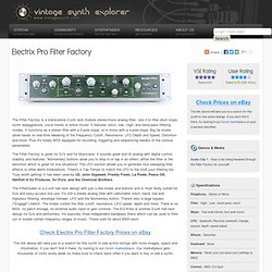 Electrix Pro Filter Factory