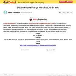 Electro Fusion Fittings Manufacturer in India