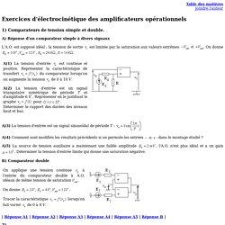 Exercices d'électrocinétique des amplificateurs opérationnels