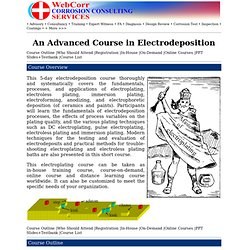 An Advanced Electrodeposition Course, Electroplating Course,Electroless Plating Course, Electroless Deposition Course, Electrochemical Deposition Course