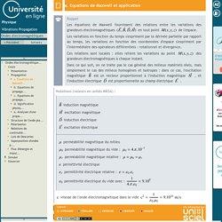 Ondes électromagnétiques-a. Equations de Maxwell et application