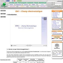 Physagreg : Cours d'électromagnétisme : cours 1 : champ électrostatique