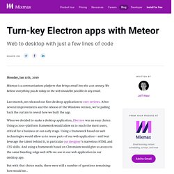 Turn-key Electron apps with Meteor