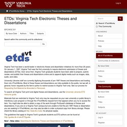 ETDs: Virginia Tech Electronic Theses and Dissertations