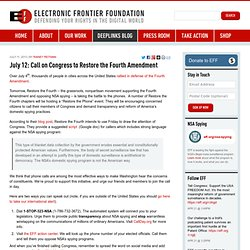 EFF: July 12: Call on Congress to Restore the Fourth Amendment