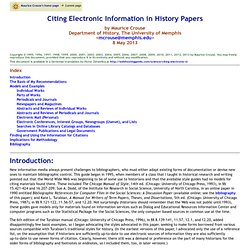 Citing Electronic Information in History Papers