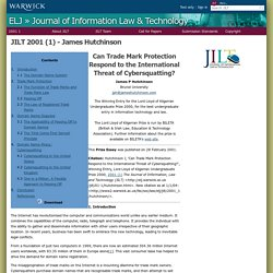 Electronic Law Journals - JILT 2001 (1) - Hutchinson
