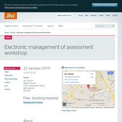 Electronic management of assessment workshop