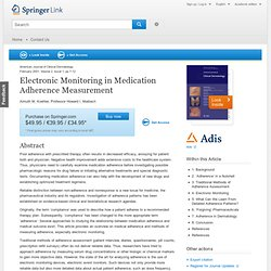 Electronic Monitoring in Medication Adherence Measurement