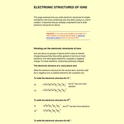 electronic structures of ions