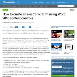 How to create an electronic form using Word 2010 content controls