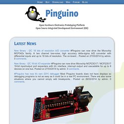 Pinguino, open source hardware electronics prototyping platform based on 8- and 32-bit PIC from Microchip.