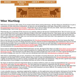 Wise Warthog - Analog electronics learning resources for students and hobbyists