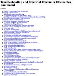 Sci.Electronics.Repair FAQ: Troubleshooting and Repair of Consumer Electronics Equipment