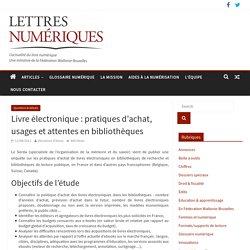 Livre électronique : pratiques d'achat, usages et attentes en bibliothèques