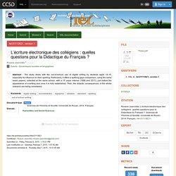 L'écriture électronique des collégiens : quelles questions pour la Didactique du Français ?
