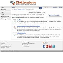 Bases de l'électronique (loi d'ohm, loi des noeuds, diviseur de tension)