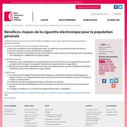 Bénéfices-risques de la cigarette électronique pour la population générale