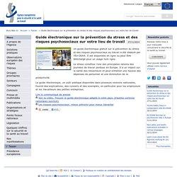 Guide électronique sur la prévention du stress et des risques psychosociaux sur votre lieu de travail