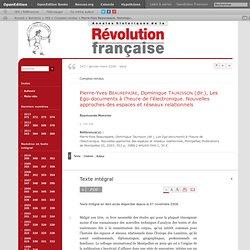 Pierre-Yves Beaurepaire, Dominique Taurisson (dir.), Les Ego-documents à l'heure de l'électronique. Nouvelles approches des espaces et réseaux relationnels