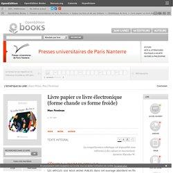 PUPO Perelman L'Esthétique du livre - Livre papier vs livre électronique (forme chaude vs forme froide)