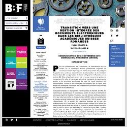 Transition vers une gestion intégrée des documents électroniques dans les bibliothèques académiques suisses romandes