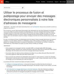 Utiliser le processus de fusion et publipostage pour envoyer des messages électroniques personnalisés à votre liste d'adresses de messagerie - Word
