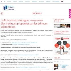 La BU vous accompagne : ressources électroniques proposées par les éditeurs scientifiques