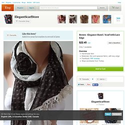 Brown Elegance Shawl / Scarf with Lace Edge by womann on Etsy