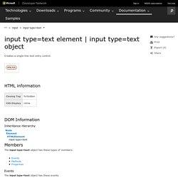 input type=text object (Internet Explorer)