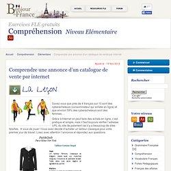 Elémentaire a1 - Comprendre une annonce d'un catalogue de vente par internet