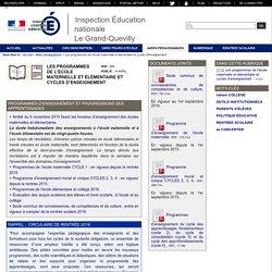 Les programmes de l'école maternelle et élémentaire et cycles d'enseignement