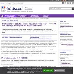 Eduscol - Évaluations de 6e 2020-2021