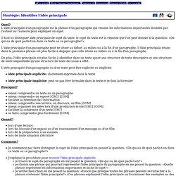 Programme d'études - Niveau élémentaire - Écoles fransaskois - Stratégie: Identifier l'idée principale