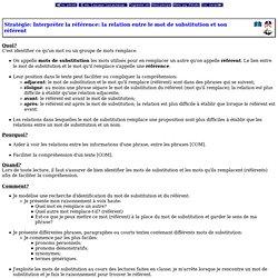 Programme d'études - Niveau élémentaire - Écoles fransaskois - Stratégie: Interpréter la référence: la relation entre le mot de substitution et son référent