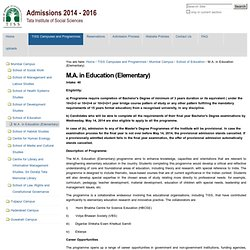 M.A. in Education (Elementary) — TISS Admissions Website
