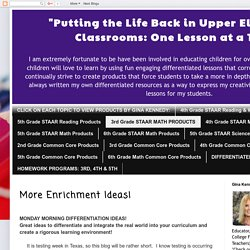"""Putting the Life Back in Upper Elementary Classrooms: One Lesson at a Time."": More Enrichment Ideas!"
