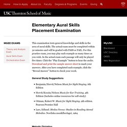 Elementary Aural Skills Placement Examination
