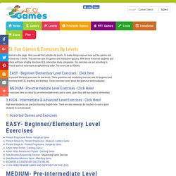 ESL Beginner, Elementary, intermediate and Advanced Level Games & Exercises